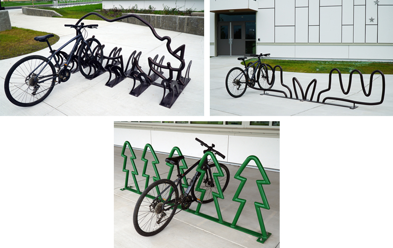 Scott Clendaniel's bicycle racks at Ryan Middle School